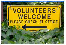 Volunteers Welcome sign