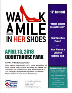 2018 Walk-A-Mile in Her Shoes - March Against Sexual Assault flyer