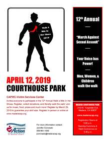 2019 Walk-A-Mile in Her Shoes event flyer - links to full flyer